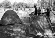 市民选择在公园搭帐篷里度过假期