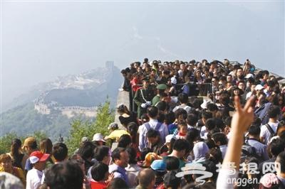 北京长城国庆期间人山人海