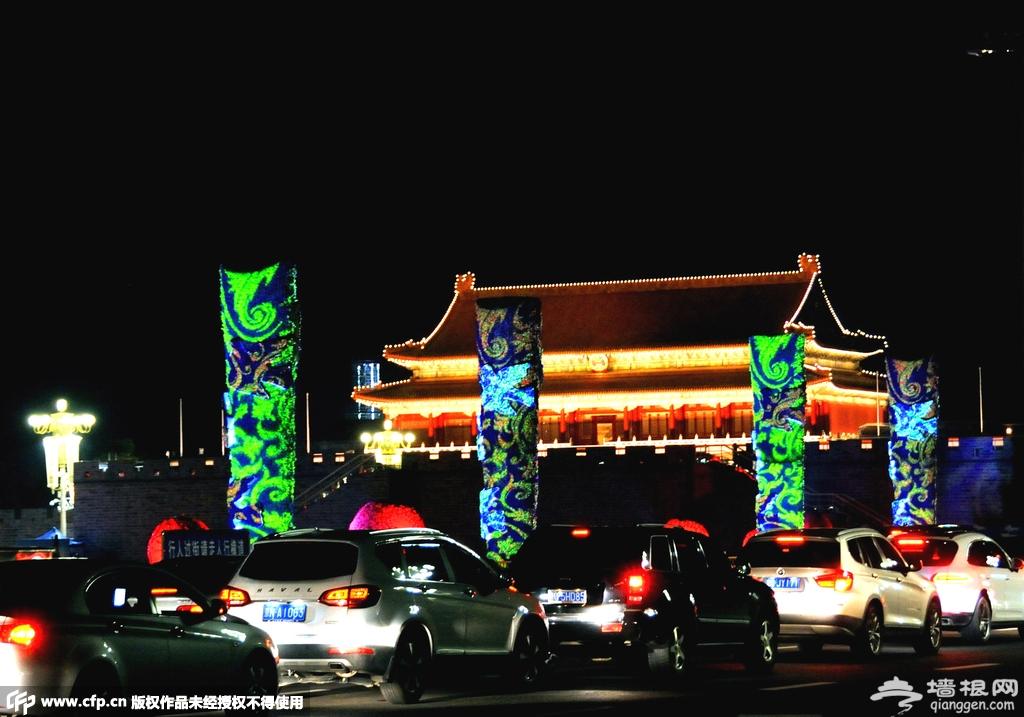 阅兵在即:天安门广场亮起夜景灯光