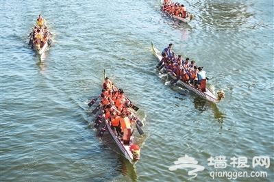 2015天津海河国际龙舟赛举办 20支龙舟队海河上竞速