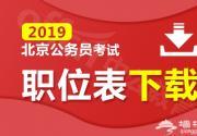 2019北京公务员考试职位表下载入口