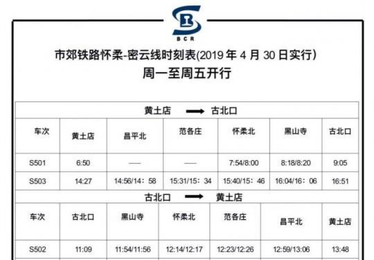 4月30日起北京市郊铁路怀密线将延长至古北口,共设6座车站