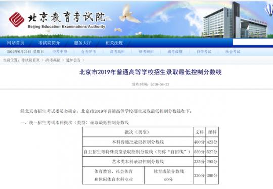 2019北京高招分数线公布!数学文理科均有满分,提前批7月6日起录取