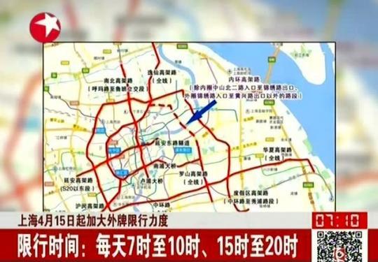 2019上海限行规定外地车限行时间及限行路段
