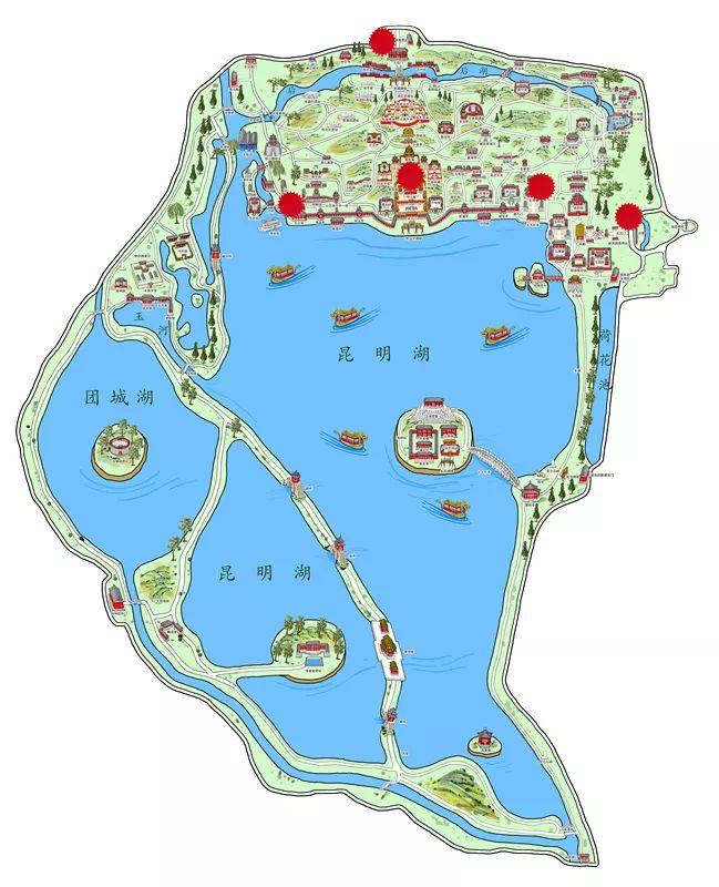北京颐和园手绘的游园护照打卡哪九个景点