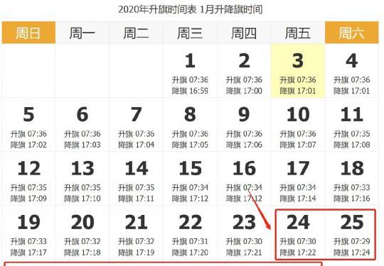 2020年春节北京天安门升降旗时间一览表