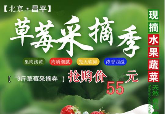 【昌平草莓博览园•五一可用】55元抢购琪琪草莓园采摘券 (含3斤草莓)可携带1名孩子, 每个手机号限购5张