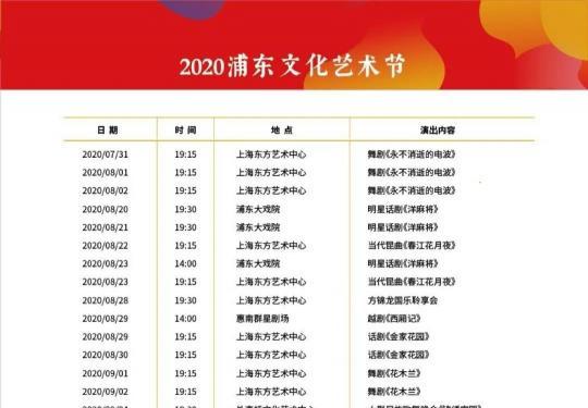 2020上海浦东文化艺术节第三波公益惠民票9月7日开票