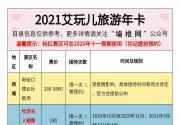 2021艾玩儿旅游年卡(精品卡)景区目录