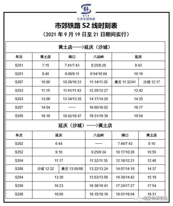 北京S2線2021年最新時刻表(2021年8月6日起執行),中秋節S2線執行小長假7對/日的列車開行方案[墻根網]